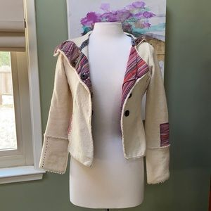 Anthropologie merino wool jacket contrast stitch